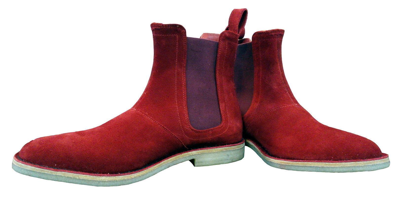 comprare sconti Uomo Fatto A Mano Pelle Scarpe Rosso Chelsea Alto Alto Alto Caviglia Pulsante Stivali IT  basso prezzo del 40%