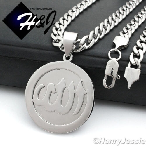 """30/""""MEN Stainless Steel 6mm Silver Cuban Curb Necklace Allah Round Pendant*P78"""