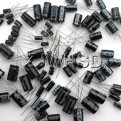 (1uF~2200uF) 25 value 125pcs Electrolytic Capacitors Assortment Kit Assorted Set