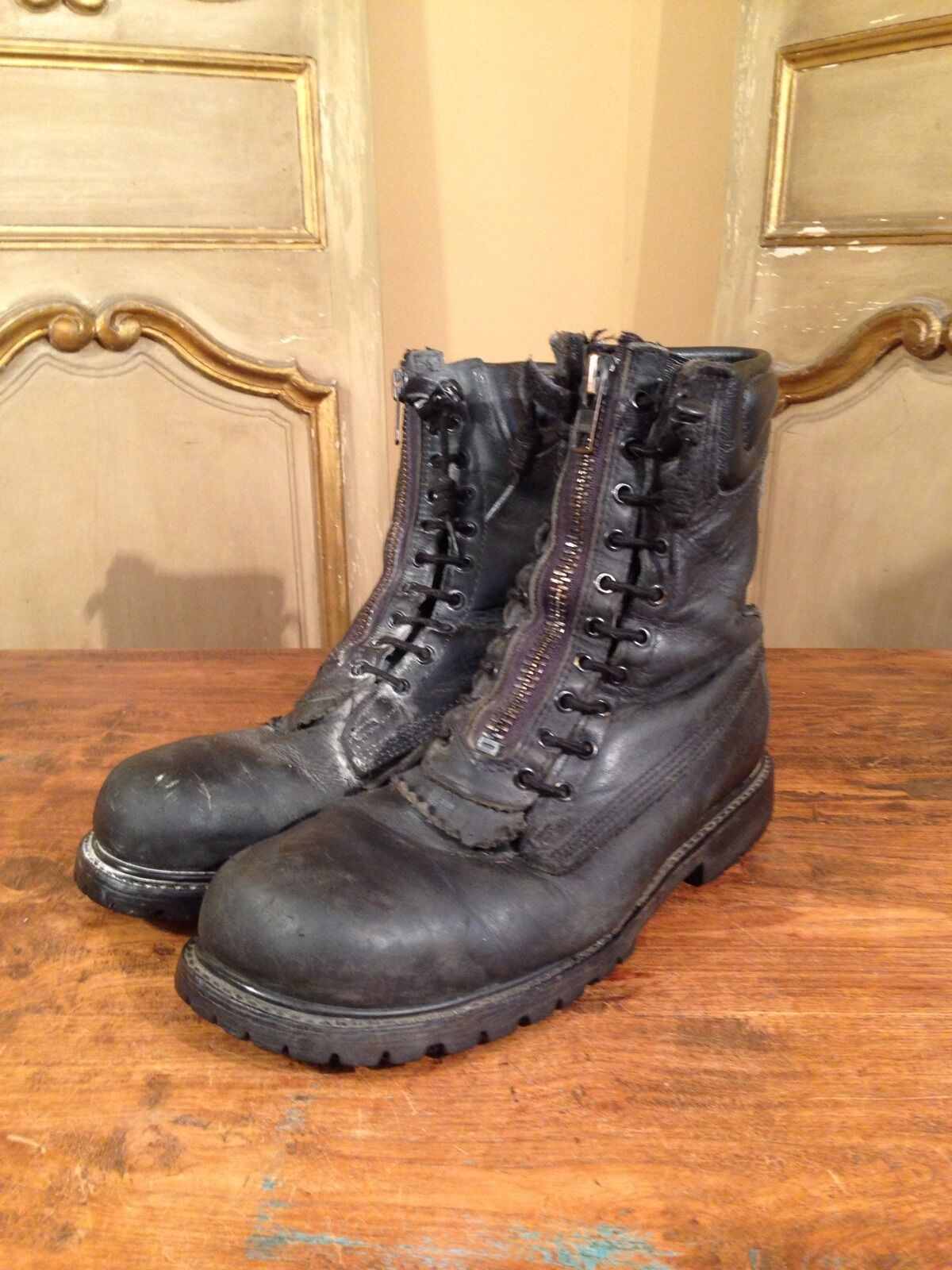 Vintage Military Paratrooper Zip Up Climbing Hiking Army Boots Size 12