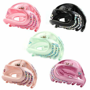 Women-Plastic-Faux-Rhinestone-Inlaid-Hair-Jaw-Claw-Clip-Hairstyle-Holder-2-Pcs