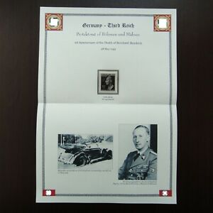 Germany-Nazi-1943-Stamp-MNH-Deathmask-of-Reinhard-Heydrich-WWII-Third-Reich-Deut