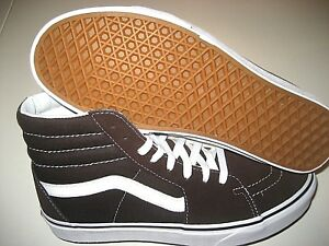 a54598211e Vans Mens Sk8-Hi Chocolate Torte True White Canvas Suede Skate shoes ...