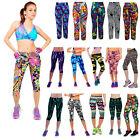 2016 Women Printed High Waist Leggings Fitness Stretch Yoga Sport Cropped Pants