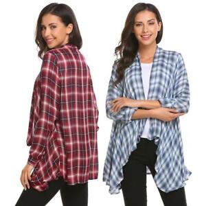 Women-Casual-Long-Sleeve-Plaid-Open-Front-Shirt-Asymmetric-Cardigan-H1PS