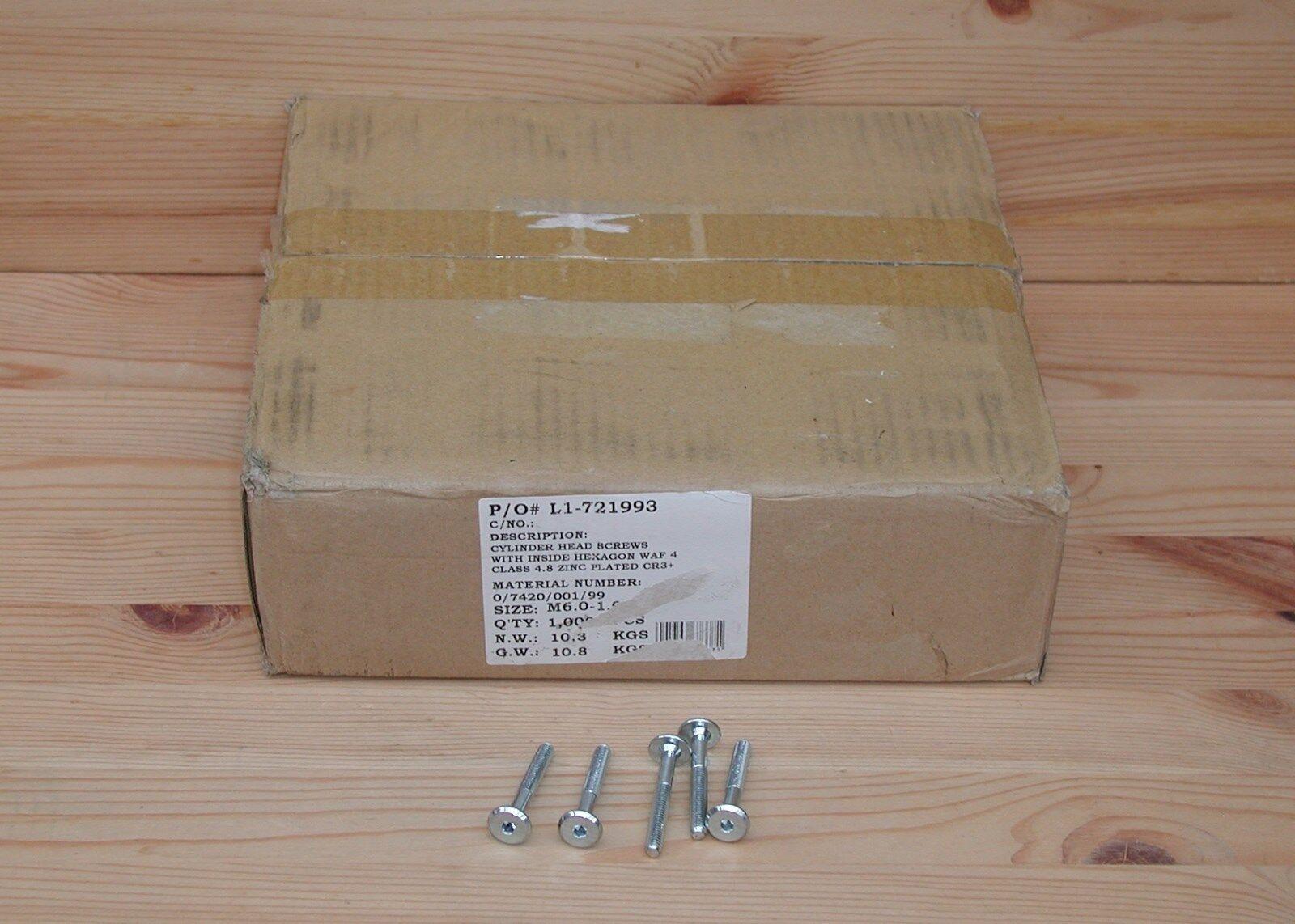 1000 St. Flachkopfschraube ISO 7420 M6x45 mm verz. Innensechskant SW4