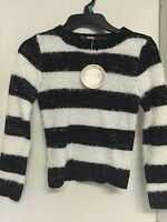 Girls Sweater Black White Stripe Size 6/6x Kids Pullover Acrylic Polyester
