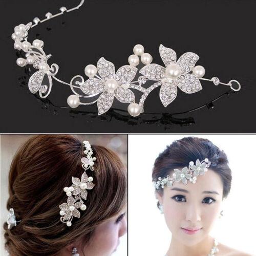 Women Flower Rhinestones Bling Hair Band Hairband Hoop Bride Weeding Party DS