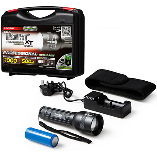 Dekton Professional COB LED Torch Light 1000 Lumen 500M Rechargeable Batteries