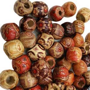 Details About 100pcs Mixed Large Hole Ethnic Pattern Stringing Wood Beads Fashion Jewelry Diy