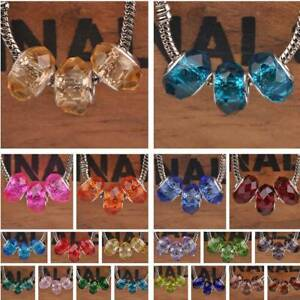 5pcs 13x9mm Big Hole Faceted Lampwork Glass Loose Beads European Charm Bracelet
