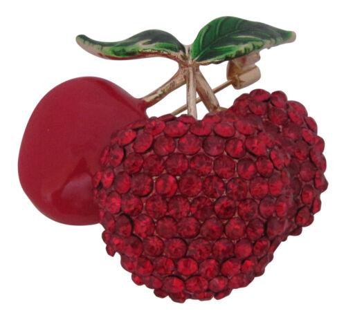 Crystal /& Enamel Bunch of Cherries Brooch Summer Fruit Broach Pin New