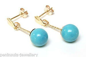 9ct-Gold-Turquoise-Ball-Drop-Earrings-Gift-Boxed-Made-in-UK-Birthday-Gift
