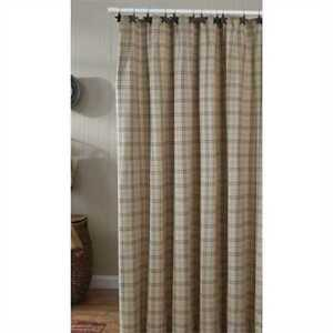 FIELDSTONE-Plaid-Shower-Curtain-Oatmeal-Farmhouse-Cottage-Country-Park-Designs