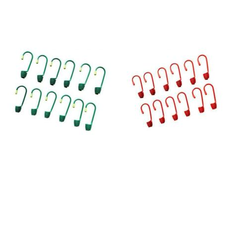 Pack 12 Heavy Duty Plastic Coated Metal Spiral Wire Hooks for 8mm Shock Cord