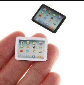 Details about Miniature dolls house accessories Miniature Tablet Black or White1:12 scale size