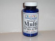 ADVANCED MULTIVITAMIN AMINO ACID B COMPLEX HAIR & SKIN SUPPLEMENT 100 CAPSULES