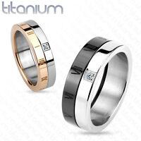 Titanium Roman Numerals with CZ Wedding Band Engagement Couple Mens Ring