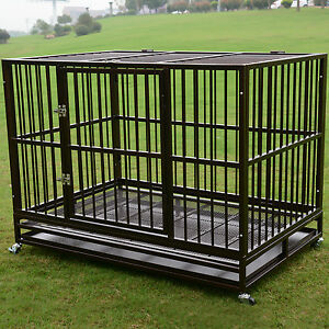 3XL-48-034-Dog-Crate-Kennel-Heavy-Duty-Pet-Cage-Playpen-w-Metal-Tray-Exercise-Pan