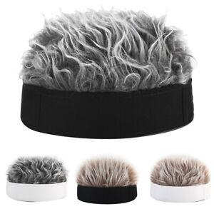 Unisex-Men-Women-Beanie-Fake-Spiked-Flair-Hair-Hat-Funny-Sports-Golf-Wig-Hat