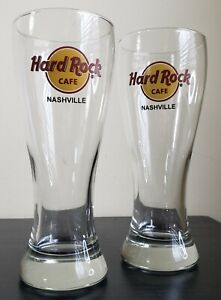 Hard-Rock-Cafe-NASHVILLE-Pilsner-Beer-Tall-Heavy-Glass-Cups-Set-of-2