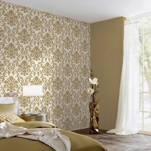 Details zu Carat Damask Glitter Wallpaper Gold White Bedroom Lounge Feature  Wall 13343-70