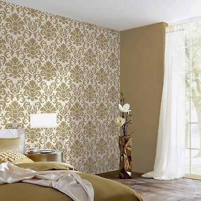 Carat Damask Glitter Wallpaper Gold White Bedroom Lounge Feature Wall  13343-70 | eBay