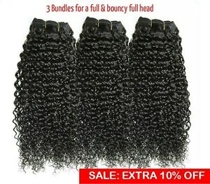 8A-Kinky-Curly-Virgin-Indian-Remy-Human-Hair-Bundle-Black-Frontal-Closure-Lot