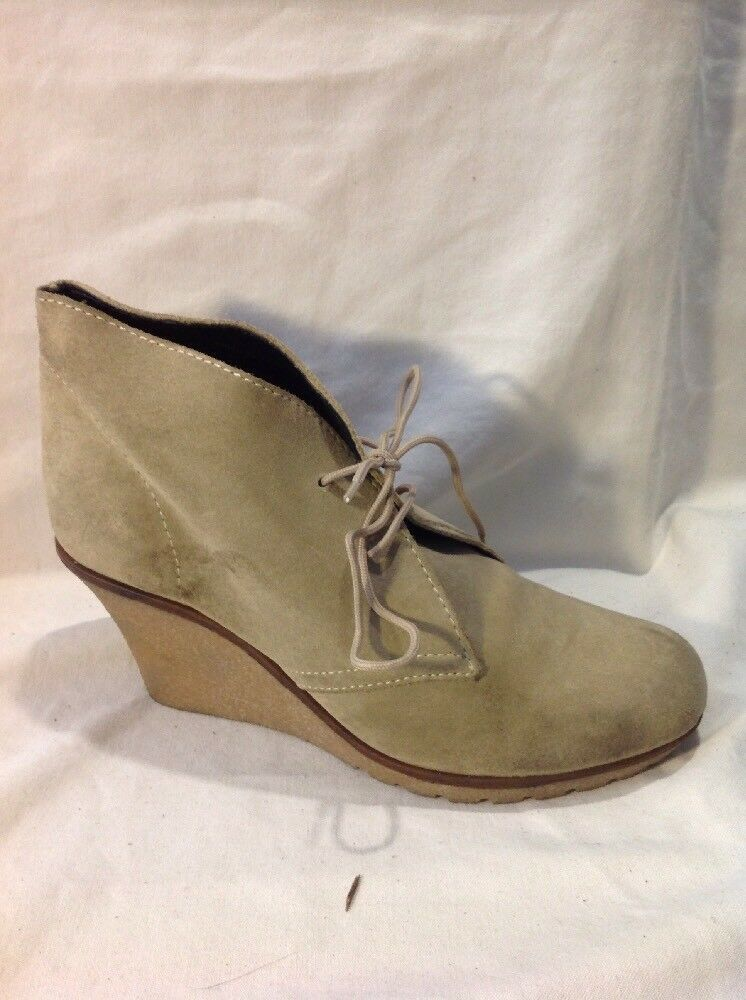 Office London Beige Ankle Suede Boots Size 39