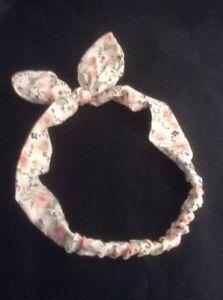 * Style Vintage Floral Crème & Rose Tissu élastique Bandeau *-afficher Le Titre D'origine