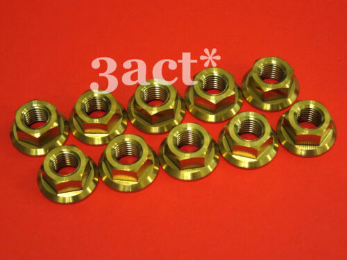 10pcs TitaniumTi M10 x 1.25 Pitch Sprocket Flange Nut Honda Suzuki Yamaha Gold