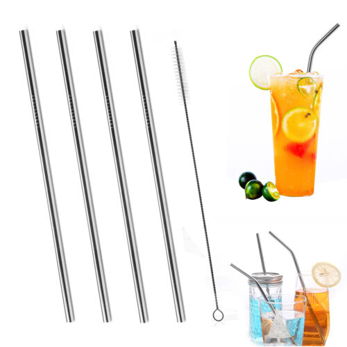 20oz//30oz Stainless Steel Metal Straws /& Cleaning Brush Reusable Drinking Straws