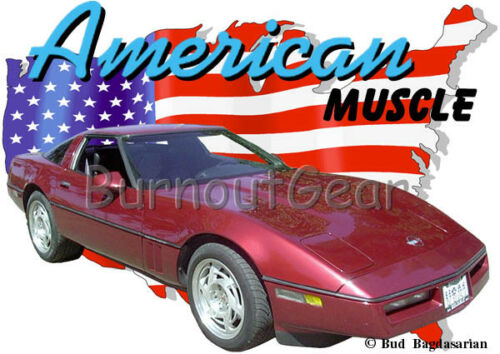 1990 Burgundy Chevy Corvette Custom Hot Rod USA T-Shirt 90 Muscle Car Tees