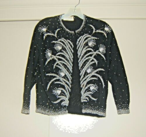 Continental Label Black Vintage Beaded Cardigan Sw