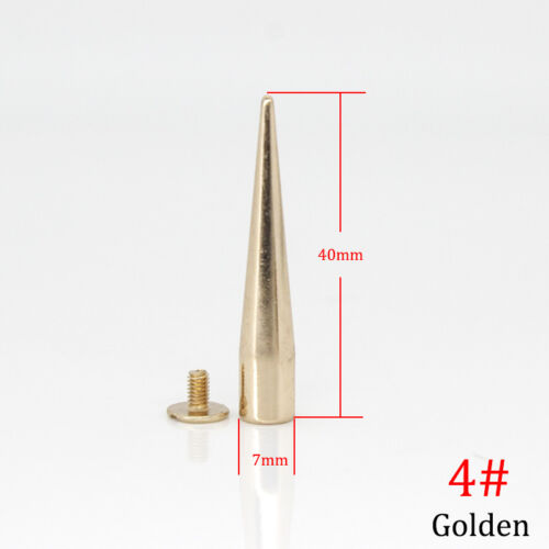 Solid Metal Screw Back Fix Spike Studs Bullet Cone Long Punk Rivet Leather Craft