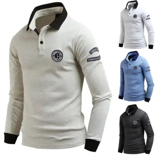 New Mens Dandy URBAN Long Sleeve Cotton T-Shirts Patch Collar Polo Top E07 S-L