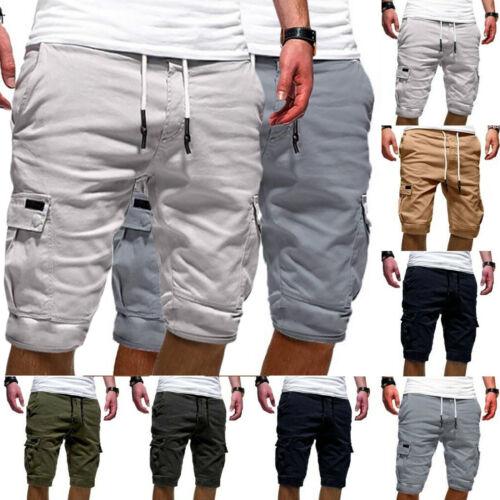 Herren Cargo Shorts Lose Sommer Slim Knielang Hose Bermuda Kurze Hosen Unifarben