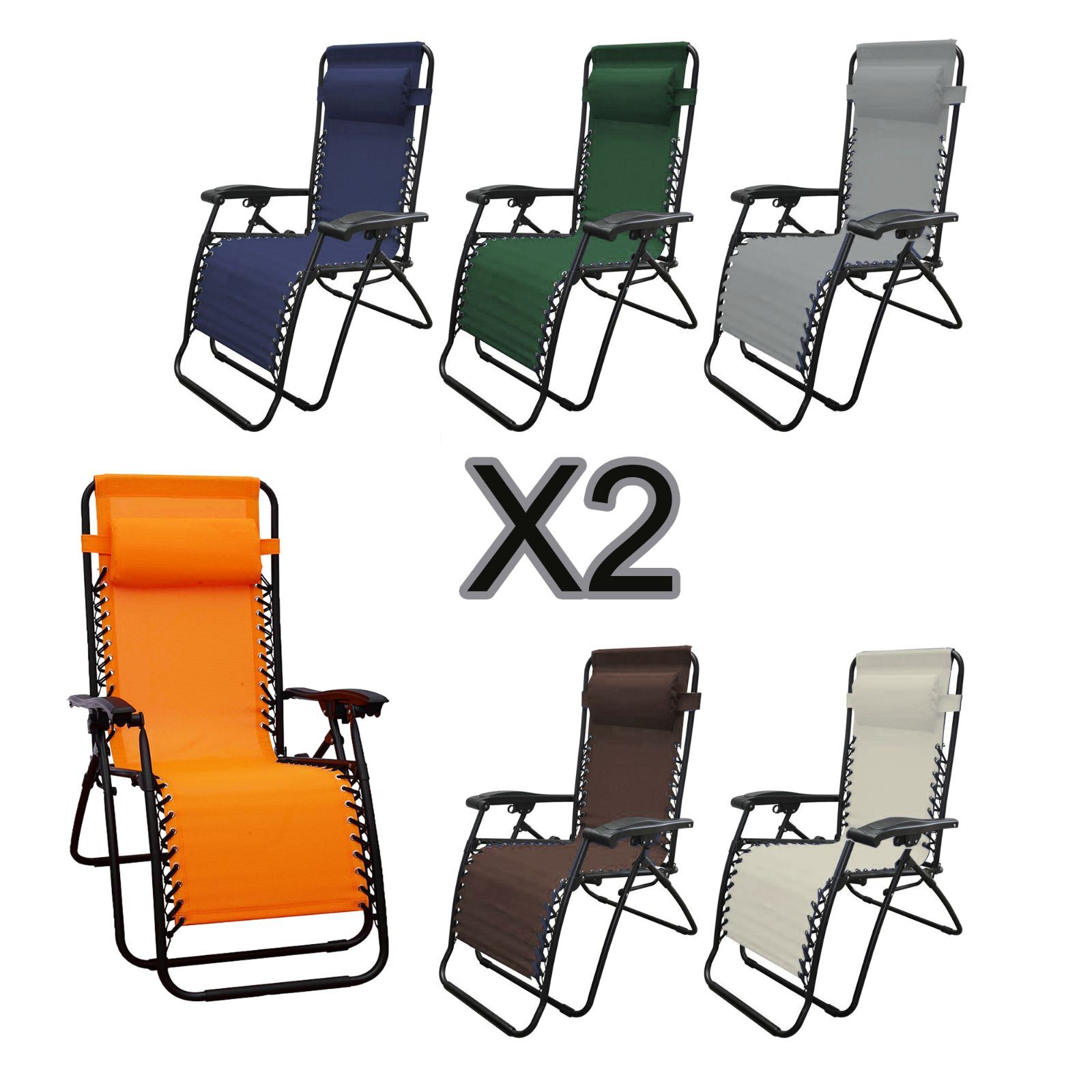 2pc lounge patio chairs outdoor yard zero gravity folding portable chaise chair ebay. Black Bedroom Furniture Sets. Home Design Ideas