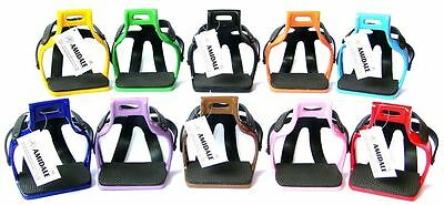 ALUMINIUM ENDURANCE FLEX RIDE CAGED SAFETY STIRRUPS AMIDALE 10 COLORS 2 SIZES