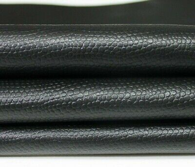 Italian strong goatskin leather skins skin PATENT BLACK REPTILE EMBOSSED 5sqf