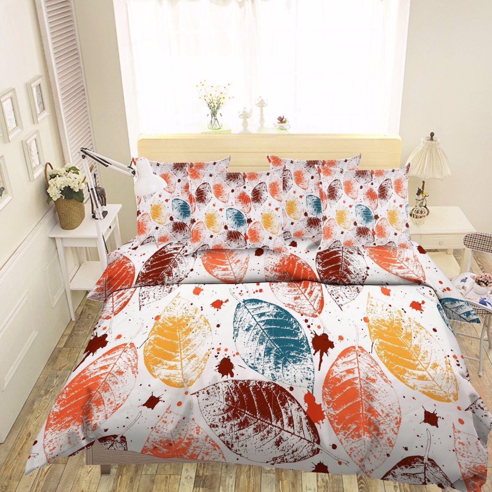3D Paint Leaves 816 Bed Pillowcases Quilt Duvet Cover Set Single Queen UK Kyra