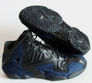 brand new 5ee62 53bb9 Image is loading NIKE-LEBRON-XI-11-EXT-DENIM-QS-BLACK-