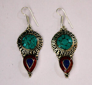 Asian-ethnic-sterling-silver-earrings-luxury-classic-hook-tops-turquoise-ER32
