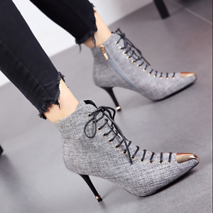 Womens Metal Pointed Toe Ankle Boots Lace Up Stilettos High Heels Knight Shoes L