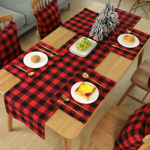 HO-Plaid-Pattern-Placemat-Dining-Table-Mat-Non-Slip-Christmas-Home-Decor-Welcom