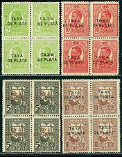 1918 King Carol,Queen weaving,POSTAL TAX,DUE,TAXA DE PLATA,TIMBRU AJUTOR,MNH,x4