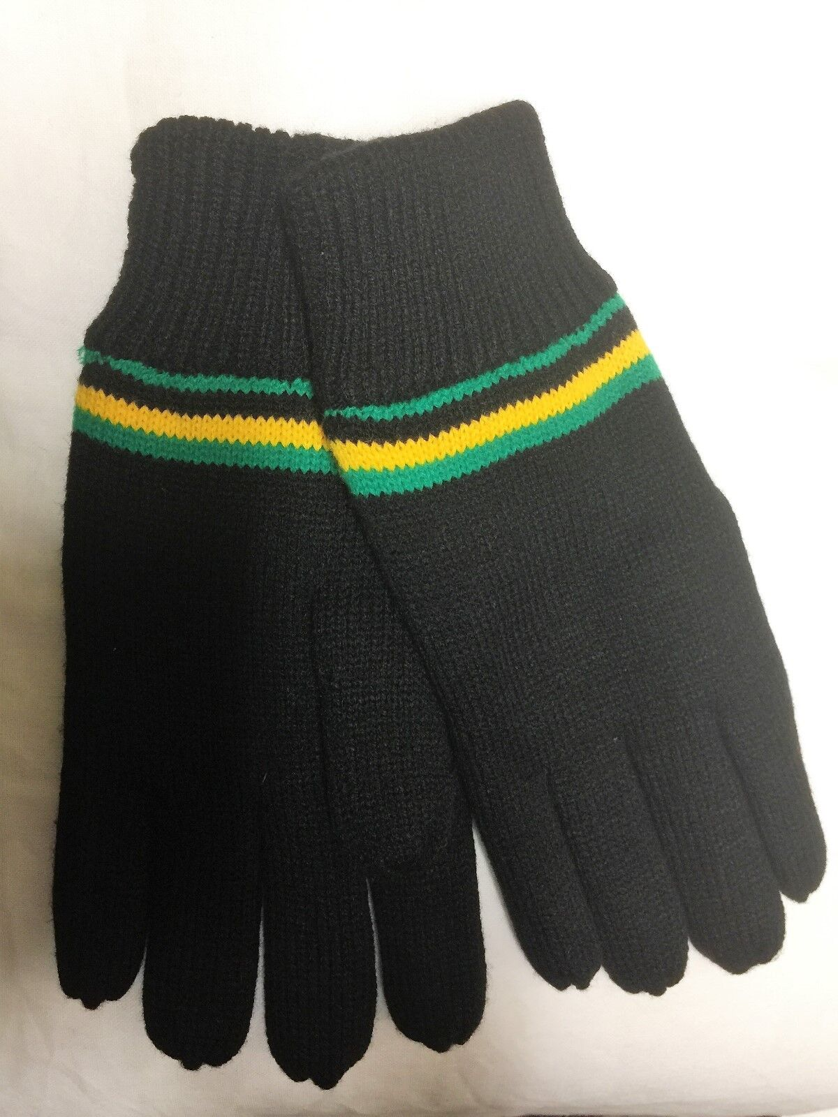 BLACK GLOVES JAMAICA COLOURS YELLOW GREEN STRIPE WOOL LINED REGGAE ONE SIZE MENS