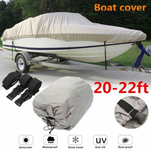 20ft 21ft 22ft 600D Waterproof Heavy Duty Boat Cover Fish Ski Speedboat V-Hull