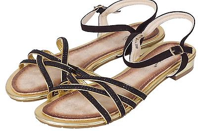 Damas Mujeres Plana Gladiador y Correa en el tobillo flip flop Zapatos Sandalias De Tiras Puntera Abierta