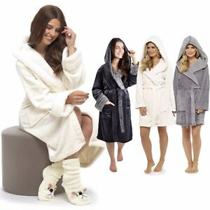 Image is loading Ladies-Soft-Luxury-Fleece-Fur-Cable-Robe-Sherpa- cf3c733b3